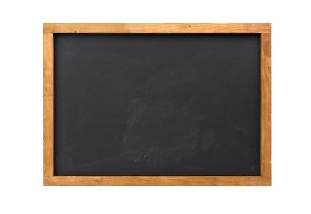 Scheda di gesso nera vuota della scuola isolata su fondo bianco, spazio della copia