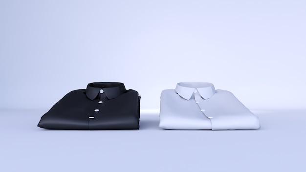 Camicia nera vuota e camicia bianca vuota, isolato su uno spazio bianco, rendering 3d
