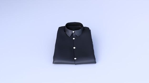 Camicia nera vuota isolata su uno spazio bianco, rendering 3d