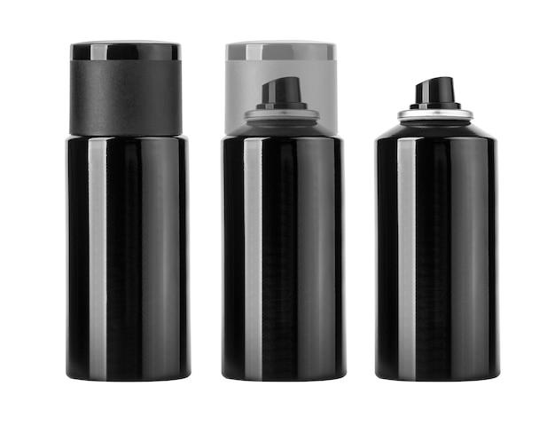 Bomboletta spray nera vuota isolata su bianco