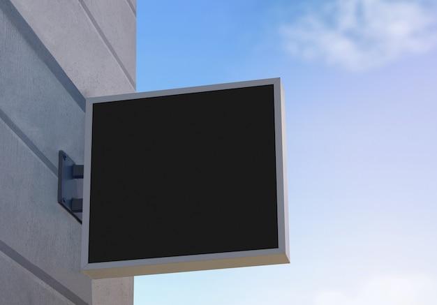 Banner quadrato nero vuoto con mockup cornice grigia