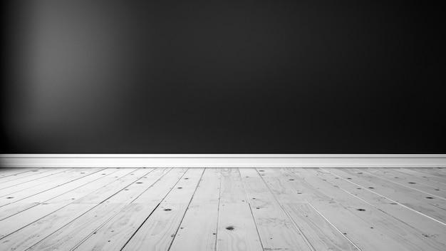 Parete nera vuota e pavimento in legno bianco vuoto interno d rendering