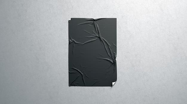 Manifesto adesivo di pasta di grano nero in bianco sulla parete strutturata