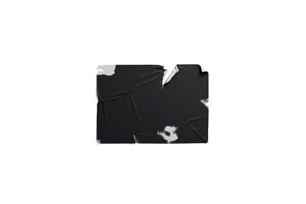 Manifesto stracciato adesivo nero in pasta di grano nero, isolato