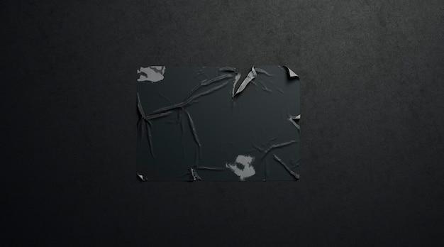 Mockup di poster strappato adesivo nero bianco in pasta di grano sulla parete scura