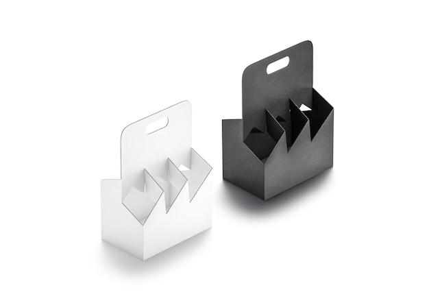 Mockup portabottiglie in cartone bianco e nero vuoto set mockup contenitore vuoto in cartone usa e getta mock up