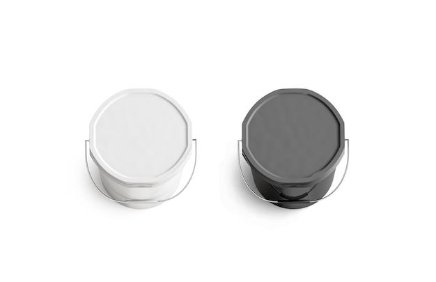 Mockup di supporto per secchio di vernice bianco e nero vuoto