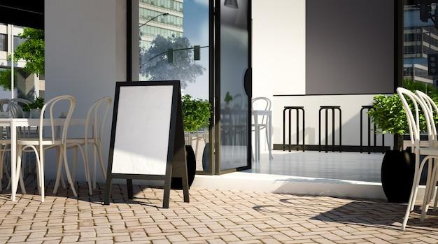 Modello in bianco della lavagna sull'entrata della caffetteria