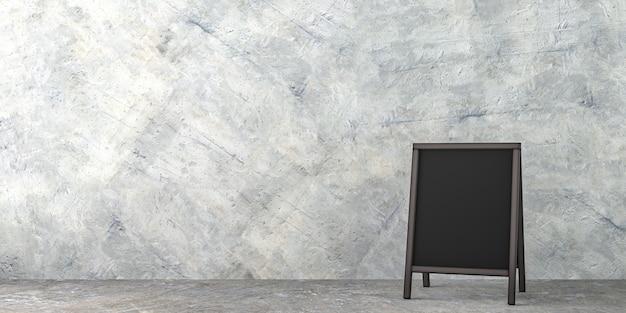 Segno del panino della lavagna in bianco con lo spazio della copia isolato nell'interno concreto della stanza vuota - 3d rende