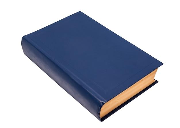 Copertina del libro blu vuota pronta per il testo isolato su sfondo bianco