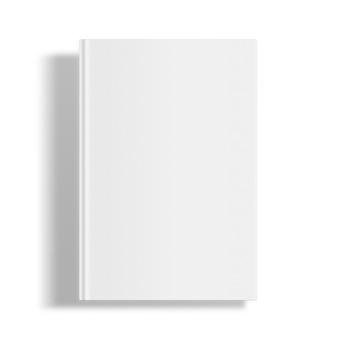 Modello di copertina del libro in bianco isolato su priorità bassa bianca con le ombre.
