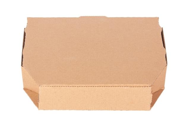 Scatola per pizza in cartone vuota con spazio per la copia per il tuo design su sfondo bianco