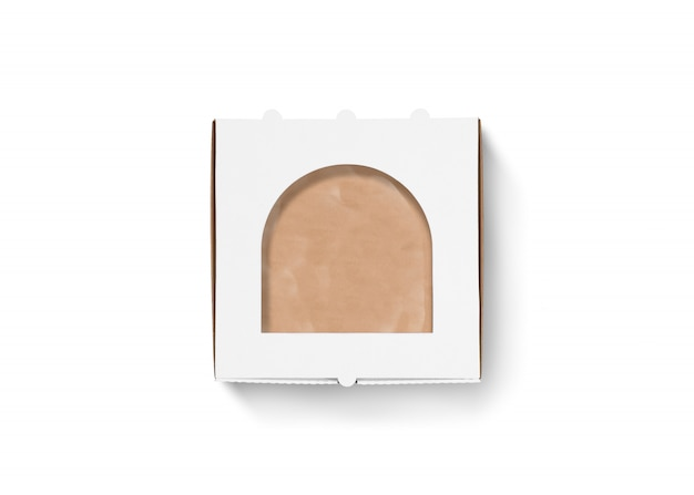 Scatola di pizza in bianco di cartone derisione isolata, vista dall'alto
