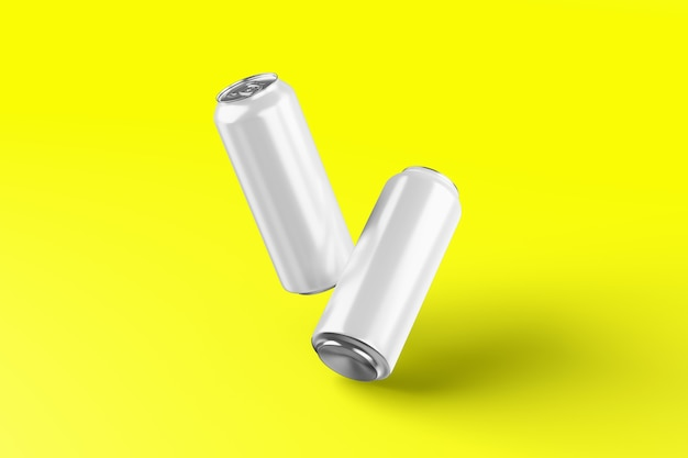 Latta di birra in alluminio fredda vuota mockup con gocce, rendering 3d. imballaggio vuoto di latta di soda fresca mock up con condensa, isolato. adatto per il tuo progetto di design di bevande gocciolanti in lattina.