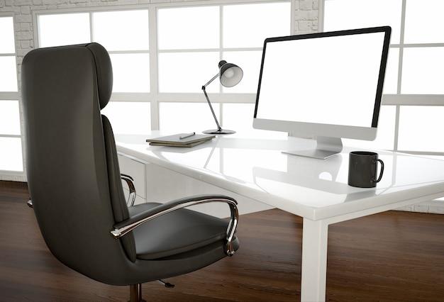 Schermo di computer vuoto sul tavolo bianco lucido alla grande finestra in ufficio. rendering 3d.