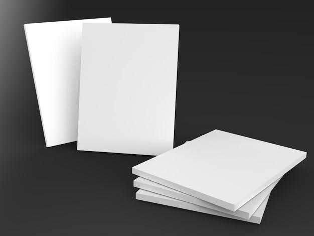 Copertine vuote per libri, riviste, blocco note, flyer, brochure su sfondo nero