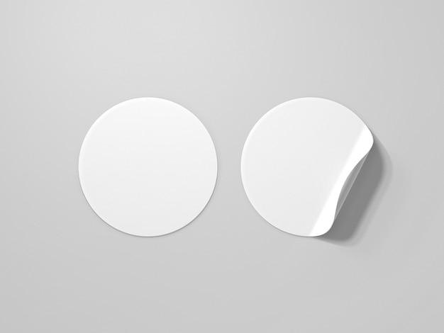 Mockup di adesivo arricciato in bianco