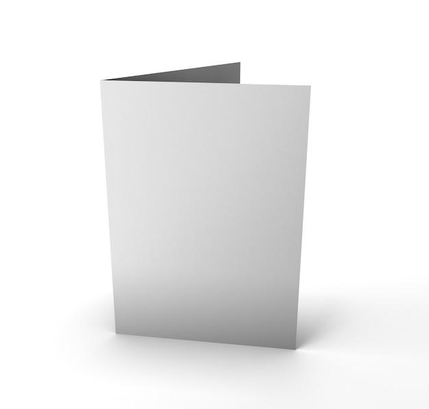 Libro bianco piegato in bianco dell'opuscolo su bianco