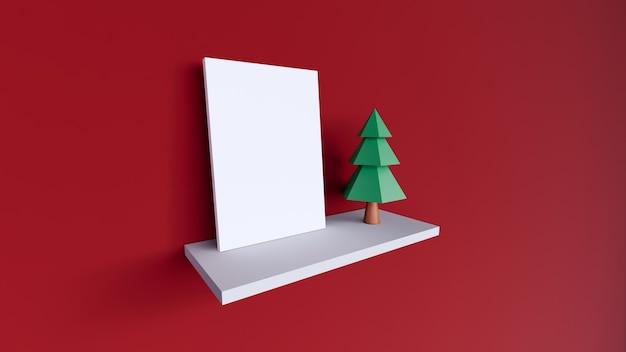 Tela cornice vuota bianca su sfondo rosso