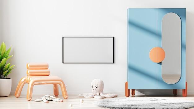 Cornice vuota mock up nella moderna camera dei bambini sfondo interno con muro bianco, rendering 3d