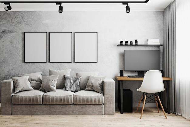 Cornice vuota in interni moderni con muro di cemento grigio, divano grigio, casa sul posto di lavoro con pc e sedia bianca, rendering 3d