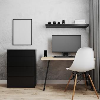 Cornice vuota vicino al posto di lavoro con pc, tavolo in legno e sedia bianca, posto di lavoro in ufficio, concetto di lavoro da casa, rendering 3d