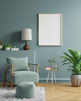 Arte della parete con cornice in bianco nel design degli interni del soggiorno moderno con parete vuota verde scuro. rendering 3d