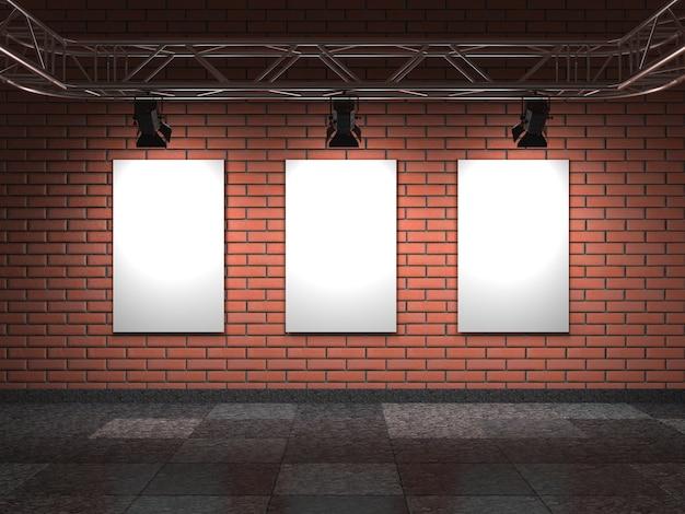 Cornici vuote sull'interiore della galleria del muro di mattoni