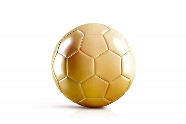 Pallone da calcio dorato in bianco, vista frontale, isolato
