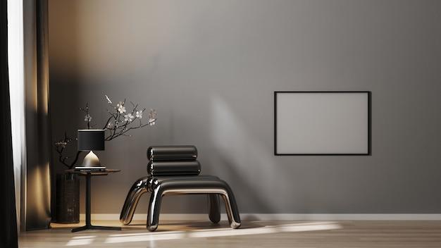 Cornice orizzontale vuota mock up sul muro grigio in interni scuri di lusso con poltrona in metallo e decorazioni in toni di nero, rendering 3d