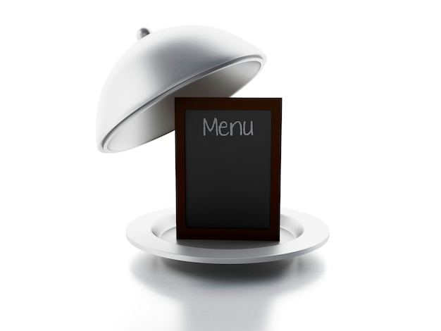 Scheda del menu in bianco, fondo bianco isolato