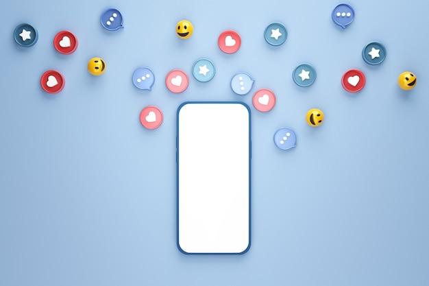 Telefono cellulare vuoto con social network