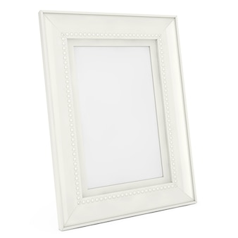 Cornice bianca mock up vuota per fotografie su sfondo bianco. rendering 3d