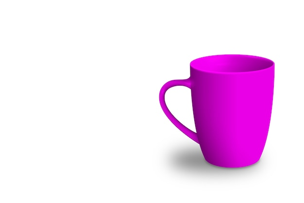 Tazza vuota isolata su rendering 3d colorato