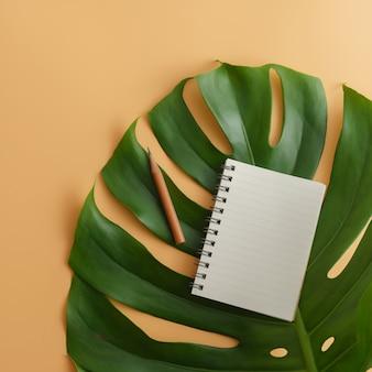 Un blocco note in bianco con la matita sul fondo delle foglie verdi