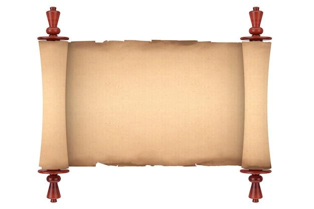 Vuoto vecchio rotolo di carta pergamena mockup su sfondo bianco. rendering 3d