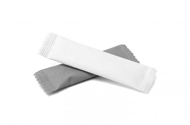 Bustina di carta da zucchero imballaggi in bianco isolato