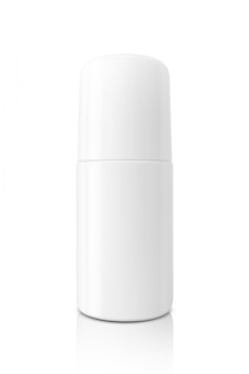 Flacone roll-on bianco di imballaggio vuoto per mock-up di design del prodotto deodorante isolato su priorità bassa bianca con il percorso di residuo della potatura meccanica