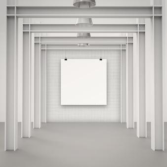 Carta di carta in bianco 3d sulla parete della composizione come concetto