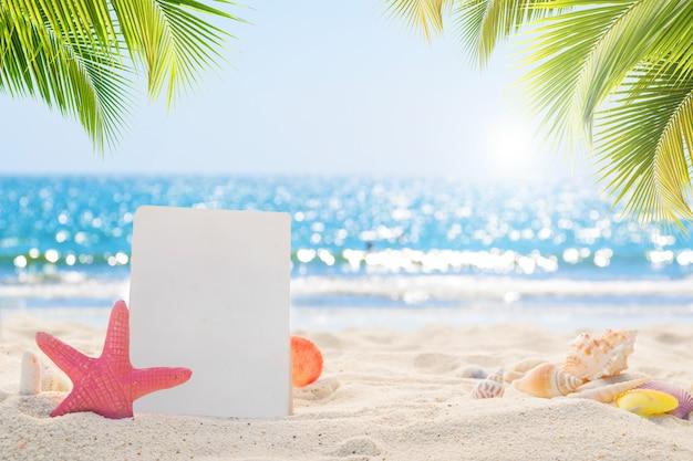Carta bianca con conchiglie sulla spiaggia di sabbia