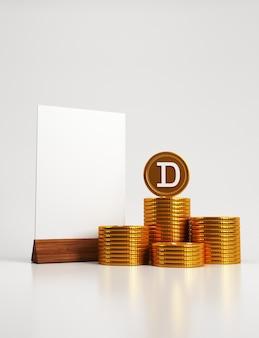 Carta bianca su un supporto di legno con pile di monete d'oro e una con una d in cima su sfondo bianco