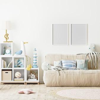 Cornice per foto vuota nel rendering 3d dell'interno della camera da letto moderna per bambini