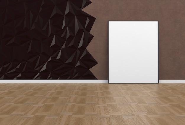 Immagine in bianco in una stanza marrone, rendering 3d