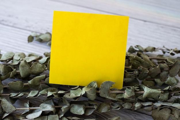 Pezzo bianco di una nota adesiva posta sopra un tavolo accanto a un foglio di carta vuoto di una pianta con