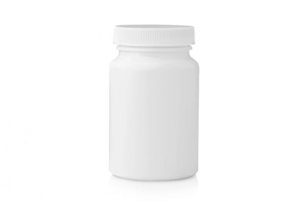 Bottiglia di plastica in bianco di medicina isolata su superficie bianca