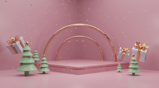 La scena in bianco del podio per celebra la rappresentazione della festa di natale 3d