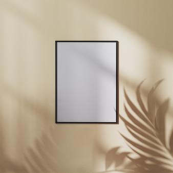 Cornice per poster vuota mock up sulla parete marrone tono terra con ombra di foglie di palma, illustrazione 3d