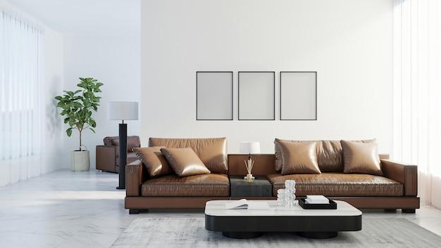 Cornici vuote per poster mock up in interni soggiorno in stile scandinavo, sfondo interno soggiorno moderno, divano in pelle marrone, rendering 3d