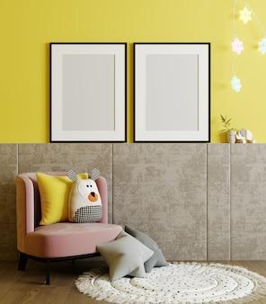 Cornici vuote per poster simulano sulla parete gialla nella stanza dei bambini sfondo interno con poltrona, giocattoli morbidi, rendering 3d