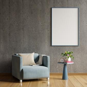 Poster in bianco nel design degli interni del soggiorno moderno con parete vuota in cemento